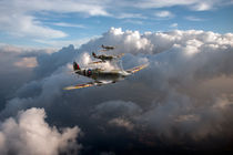 Spitfires among clouds by flightartworks