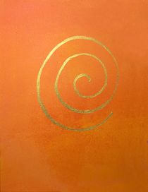 Modern Art Abstract Painting Infinity Bright Orange Gold by Philip Bowman by artfoxx