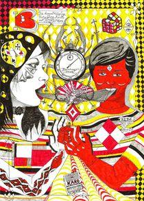 Die doppelköpfige Vereinigung Amors mit Psyche in Karo  von Sven Bremer