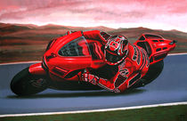 Casey Stoner on Ducati painting by Paul Meijering
