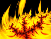 Brennendes Fraktal gelb orange rot und schwarz von Matthias Hauser