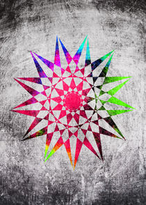 Colorful Trippy Star with Grunge Background by Denis Marsili