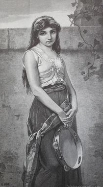 8851s - Mädchen mit Tambourin - Girl with Tambourine by stiche. biz