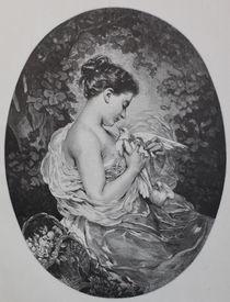 9090s - Mädchen mit Brieftauben - Girl with a pigeon by stiche. biz