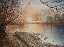 Sonnenuntergang an der Reuss von Sabine Sigrist