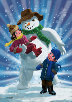 Children-and-snowman-playing-together