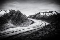 Aletschgletscher in schwarzweiß Fine Art von Matthias Hauser