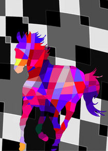 Colorful Horse Vector - Cool Colors and Background von Denis Marsili