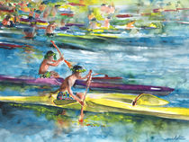 Canoe Race in Polynesia by Miki de Goodaboom