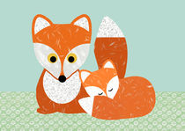 Cute Fox and baby Fox collage by Claudia Schoen