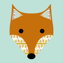 Cute Fox with ikat pattern von Claudia Schoen