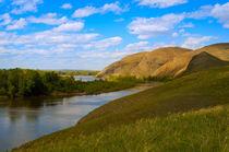 Landscape with mountains and river von larisa-koshkina
