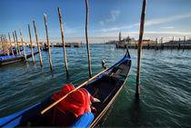 Gondola with San Giorgio Maggiore island in the background, Venice, Italy by aelita