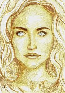 Frauenportrait mit Farbstift von Jasmin Metzen