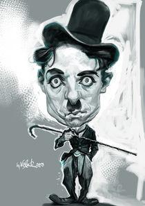 Charlie Chaplin Caricature Portrait von creartiv3