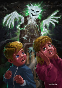 Kids with Haunted Grandfather Clock Ghost by Martin  Davey