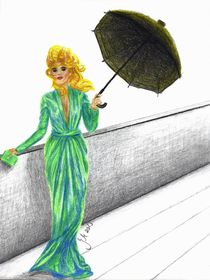 """""""Frau in Abendrobe mit Regenschirm"""" by Jasmin Metzen"""