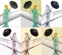 """Collage """"Frau in Abendrobe mit Regenschirm"""" von Jasmin Metzen"""
