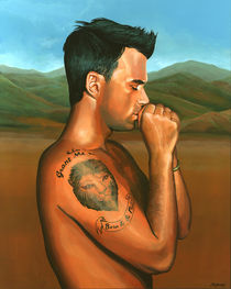 Robbie Williams painting 2 by Paul Meijering