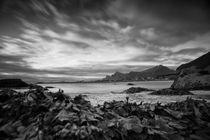 Midsummer night at Seacoast Ramberg, north norway, b/w von travelfoto