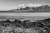 Coastal landscape, Krystad, Lofoten islands, b/w by travelfoto