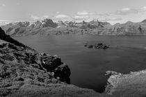 Hilly coastal landscape, Lofoten islands, Norway, b/w by travelfoto