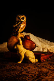 Still Life - Owl, Pears, and Rabbit by Jon Woodhams