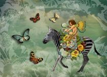 Flying Zebra and Fairy by Carolyn Slattery