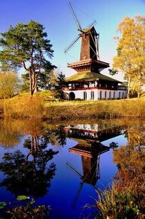 Windmill in Germany - Windmühle im Wasser gespiegelt by Eddie Scott