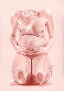 nu,femme enceinte au sol de face von Philippe Flohic