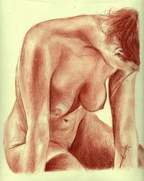 Nu féminin, femme au sol, original à la sanguine von Philippe Flohic