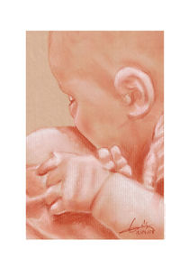 Study of a baby in its mother's womb von Philippe Flohic