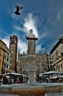 Sculpture and pigeon by Marco Leonardo Pieropan
