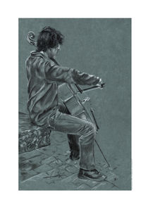 Cellist charcoal by Philippe Flohic