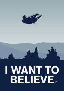 My I want to believe minimal poster-millennium falcon by chungkong