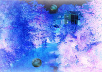 River Reflective Blue Moon. von Heather Goodwin