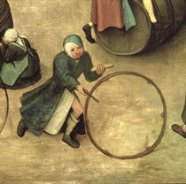 Children`s Games (Kinderspiele): detail of a child with a stick  by Pieter Brueghel the Elder