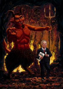 Tony Blair in Hell with Devil and holding Weapons of Mass Destruction document by Martin  Davey