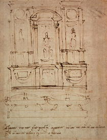 Study for a double tomb for the Medici Tombs in the New Sacristy by Buonarroti Michelangelo