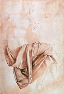 Study of drapery (drawing)  by Buonarroti Michelangelo