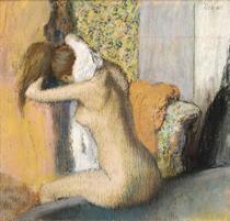 Frau trocknet ihren Nacken nach einem Bad von Edgar Degas