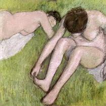 Zwei Badende im Gras von Edgar Degas