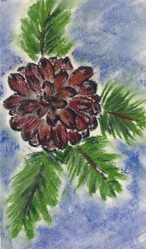 Oil Pastel - Pine Cone by Sabine Cox