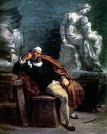 Michelangelo in his Studio by Ferdinand Victor Eugèn  Delacroix