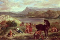 Ovid among the Scythians by Ferdinand Victor Eugèn  Delacroix