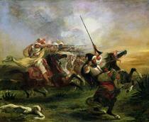 Marokkanische Reiter im Kampf von Ferdinand Victor Eugèn  Delacroix
