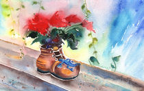 Still Life with Poinsettia and Shoe by Miki de Goodaboom