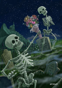 Romantic Valentine Skeletons in Graveyard by Martin  Davey