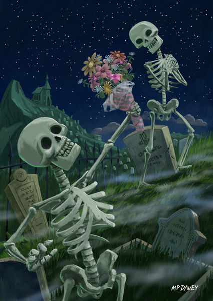 Valentine-romantic-skeletons-in-graveyard