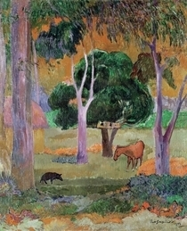 Dominican Landscape or, Landscape with a Pig and Horse by Paul Gauguin